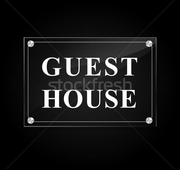 гость дома знак иллюстрация черный стекла Сток-фото © nickylarson974