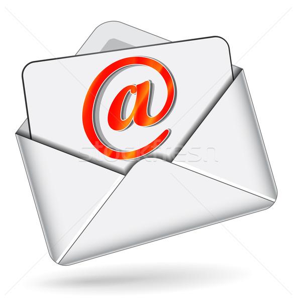 почты икона иллюстрация конверт белый Сток-фото © nickylarson974