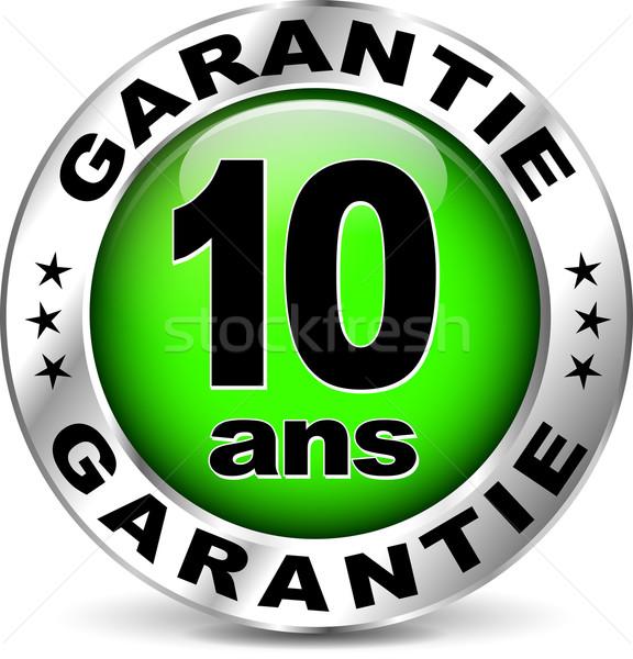 Yeşil garanti ikon fransız çeviri örnek Stok fotoğraf © nickylarson974