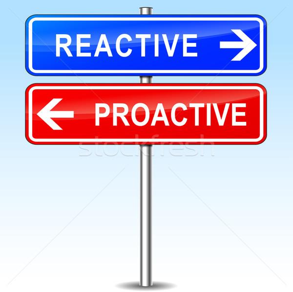 Proactivo elección ilustración azul rojo flechas Foto stock © nickylarson974