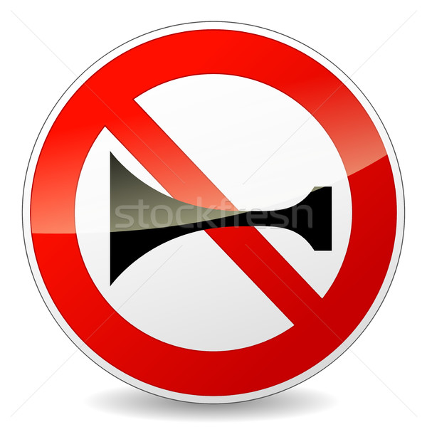 horn prohibited sign on white background Stock photo © nickylarson974