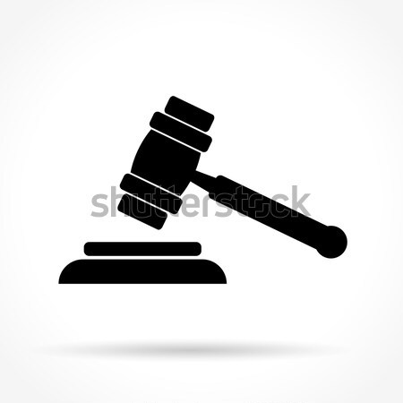 justice hammer icon Stock photo © nickylarson974