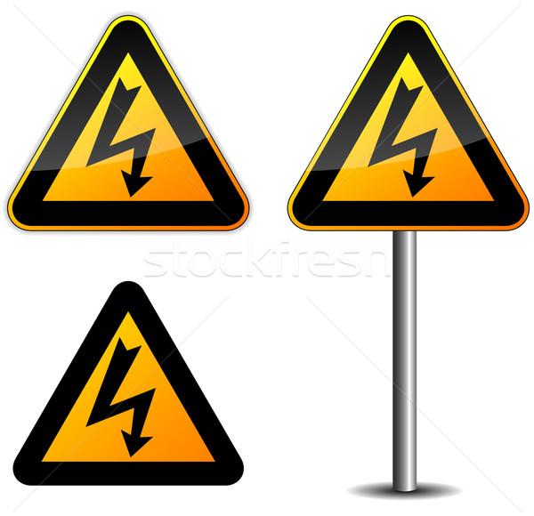 Warning electric sign Stock photo © nickylarson974