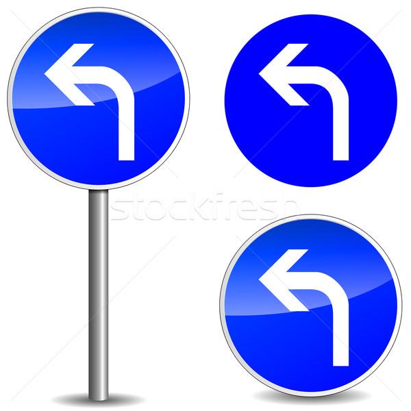 Vektor útjelzés kék fehér háttér keret Stock fotó © nickylarson974
