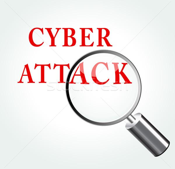 Stockfoto: Vector · aanval · illustratie · vergrootglas · internet · abstract