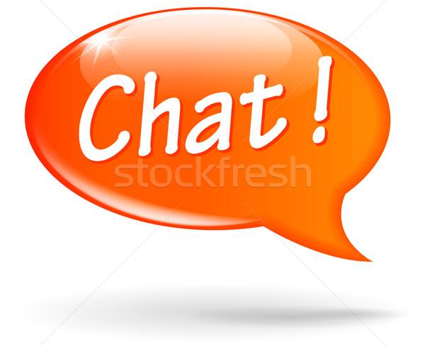 Vector chat orange speech bubble Stock photo © nickylarson974
