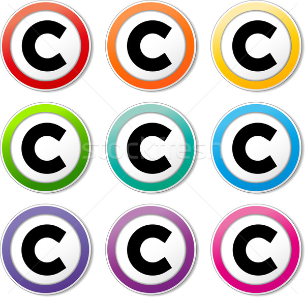 Szerzői jog ikonok illusztráció különböző színek szett Stock fotó © nickylarson974