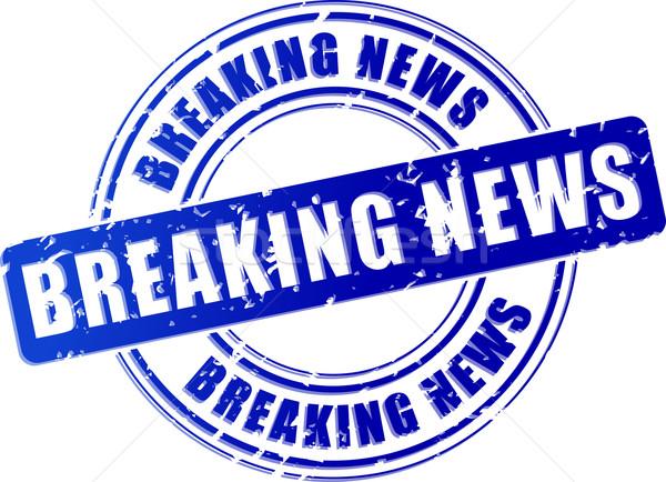 Rendkívüli hírek kék bélyeg illusztráció terv ikon Stock fotó © nickylarson974