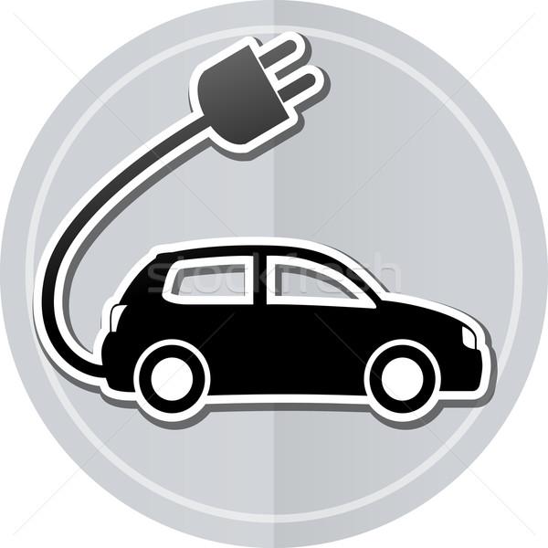 Coche eléctrico etiqueta icono ilustración simple diseno Foto stock © nickylarson974