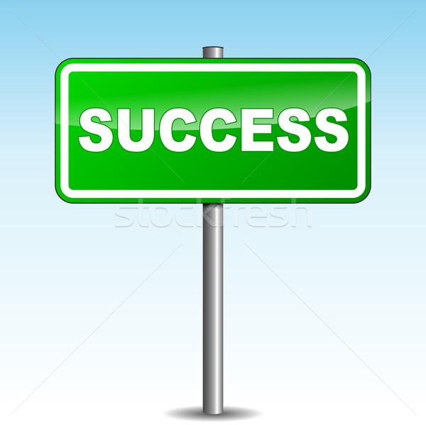 Vektör başarı tabelasını yeşil gökyüzü iş Stok fotoğraf © nickylarson974