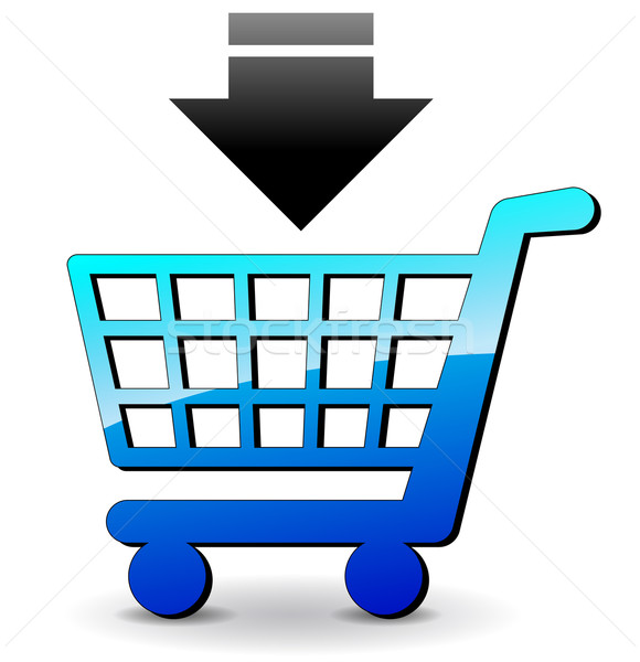Vector winkelen icon winkelwagen Blauw witte Stockfoto © nickylarson974