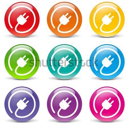 Elétrico plugue ícones ilustração cores Foto stock © nickylarson974