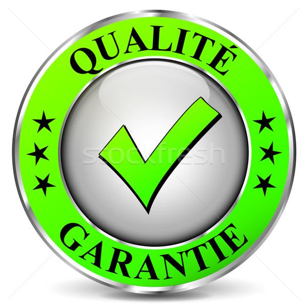 Qualité garantir icône blanche design vert Photo stock © nickylarson974