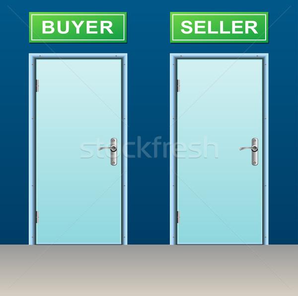 Acheteur vendeur portes illustration deux affaires Photo stock © nickylarson974