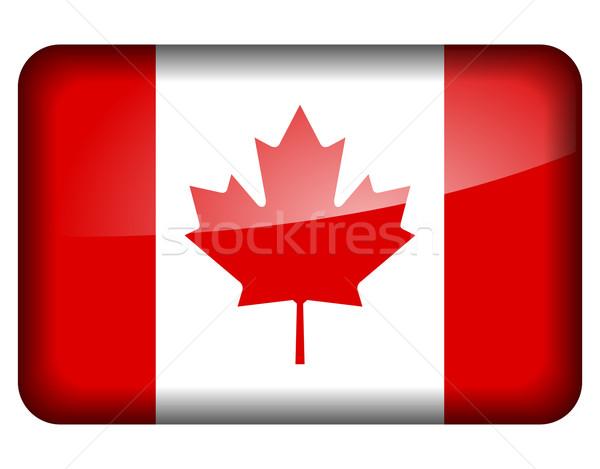 Drapeau canadien icône blanche design signe pavillon Photo stock © nickylarson974