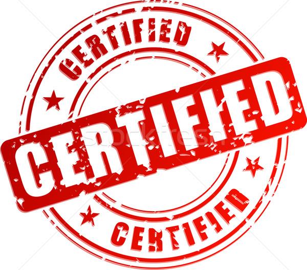 Vetor certificado carimbo vermelho branco assinar Foto stock © nickylarson974