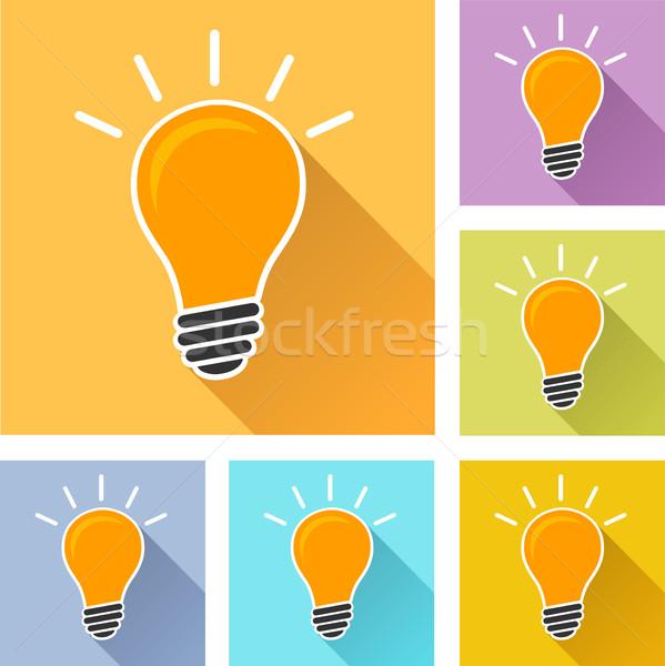 лампочка красочный иконки иллюстрация тень свет Сток-фото © nickylarson974