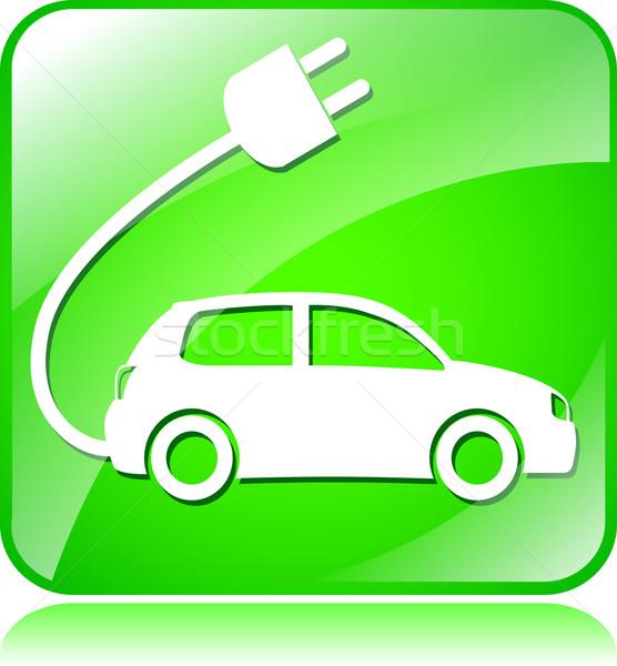 Elektrische auto icon illustratie groene vierkante technologie Stockfoto © nickylarson974