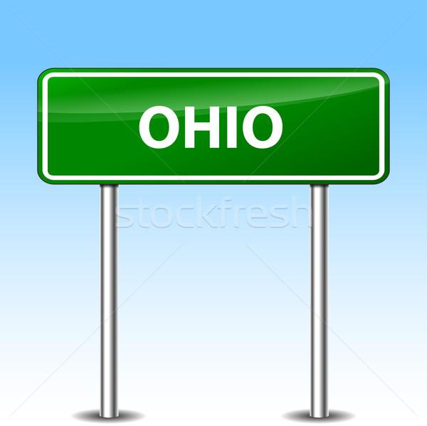 Ohio teken illustratie groene metaal verkeersbord Stockfoto © nickylarson974