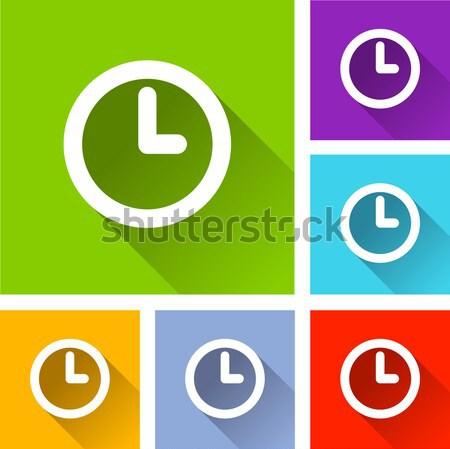 часы иконки коллекция различный цветами время Сток-фото © nickylarson974
