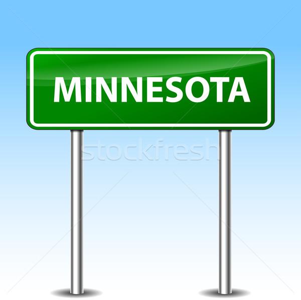 Миннесота зеленый знак иллюстрация металл дорожный знак Сток-фото © nickylarson974