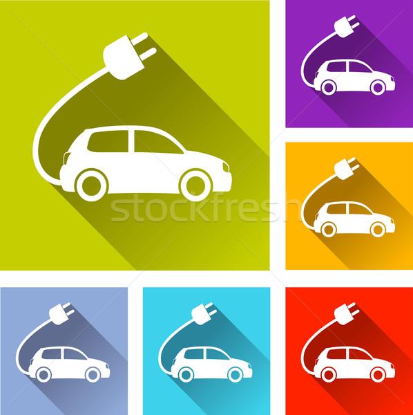 Elektrische auto iconen illustratie ontwerp ingesteld technologie Stockfoto © nickylarson974