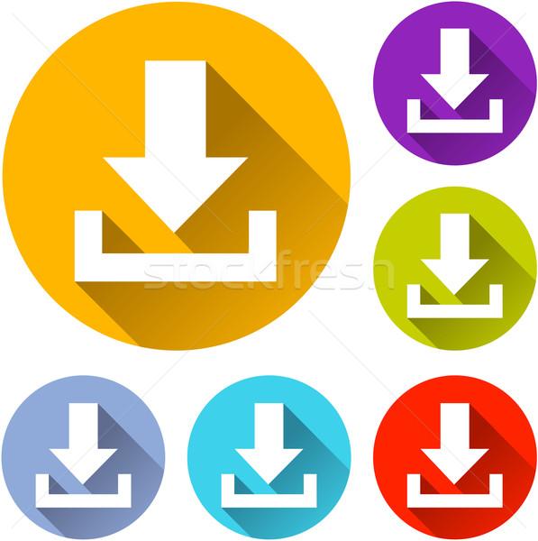 скачать иконки шесть красочный оранжевый знак Сток-фото © nickylarson974