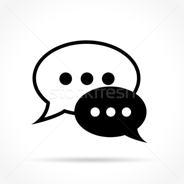 speech bubble icon on white background Stock photo © nickylarson974