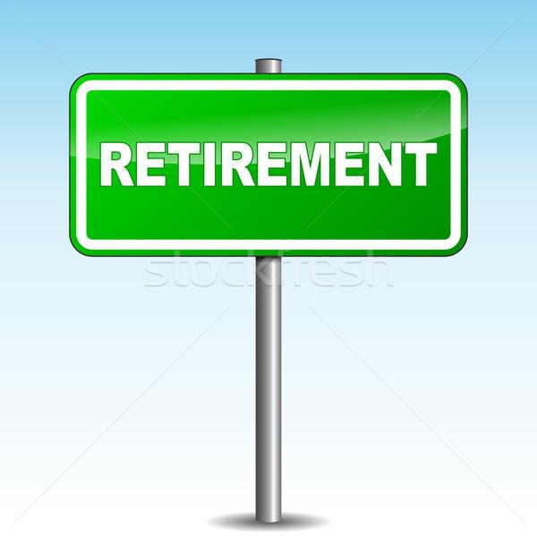 Stockfoto: Vector · pensioen · wegwijzer · groene · hemel · weg