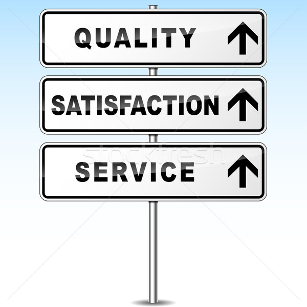 Wektora jakości kierunkowskaz usługi zadowolenie drogowego Zdjęcia stock © nickylarson974