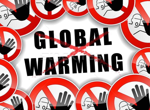 Geen opwarming van de aarde abstract illustratie wereldbol verontreiniging Stockfoto © nickylarson974