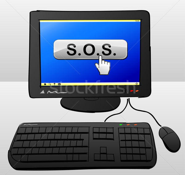 Sos computador ilustração botão tela projeto Foto stock © nickylarson974