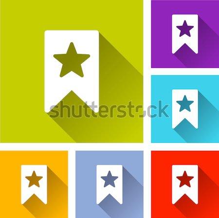 Bladwijzer iconen illustratie kleurrijk vierkante Stockfoto © nickylarson974