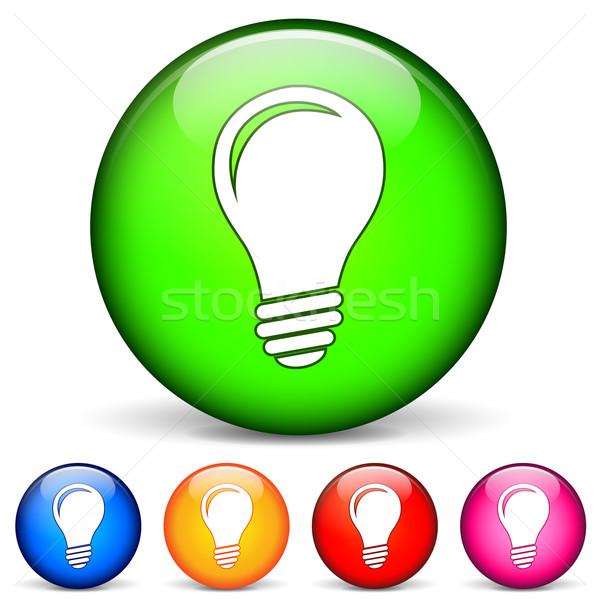 Stockfoto: Lamp · iconen · 3D · witte · glas · groene