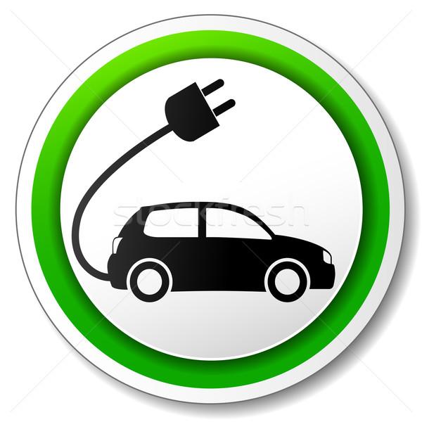 Vecteur voiture électrique icône blanche voiture web Photo stock © nickylarson974