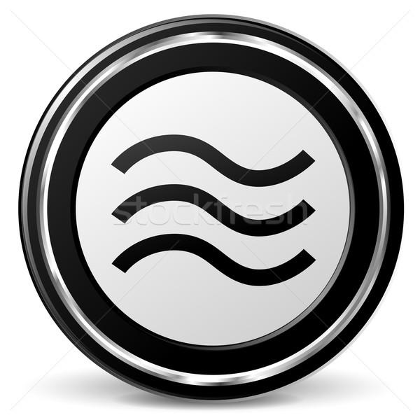 вектора наводнения икона черный хром волна Сток-фото © nickylarson974