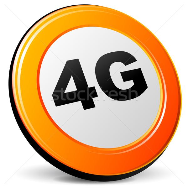 вектора 4g икона оранжевый 3D интернет Сток-фото © nickylarson974