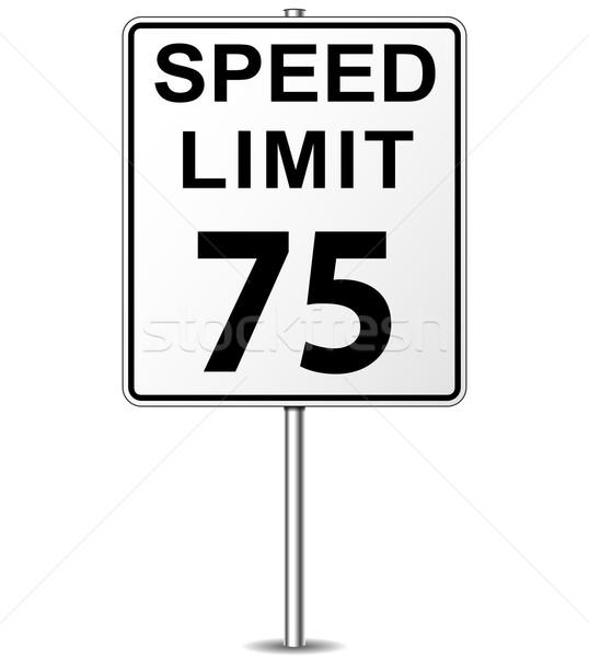 Vektor Geschwindigkeitsbegrenzung Zeichen fünf Wegweiser Straße Stock foto © nickylarson974