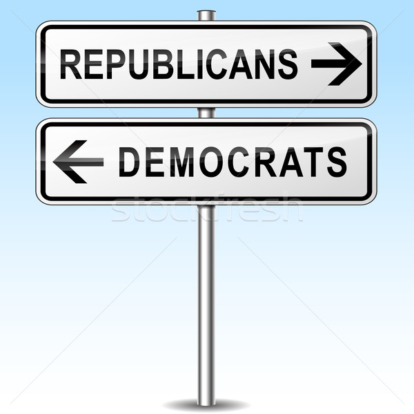 republicans and democrats directions sign Stock photo © nickylarson974
