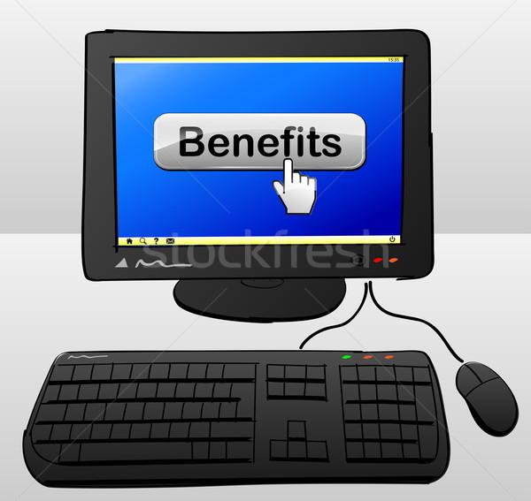 Faydaları bilgisayar çizim düğme ekran dizayn Stok fotoğraf © nickylarson974