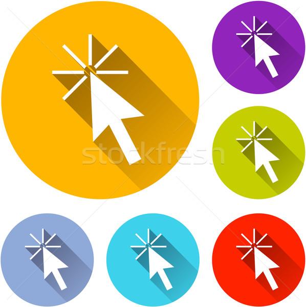 Cursor ícones seis colorido projeto laranja Foto stock © nickylarson974