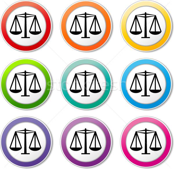 Egyenlőség ikonok illusztráció különböző színek szett Stock fotó © nickylarson974