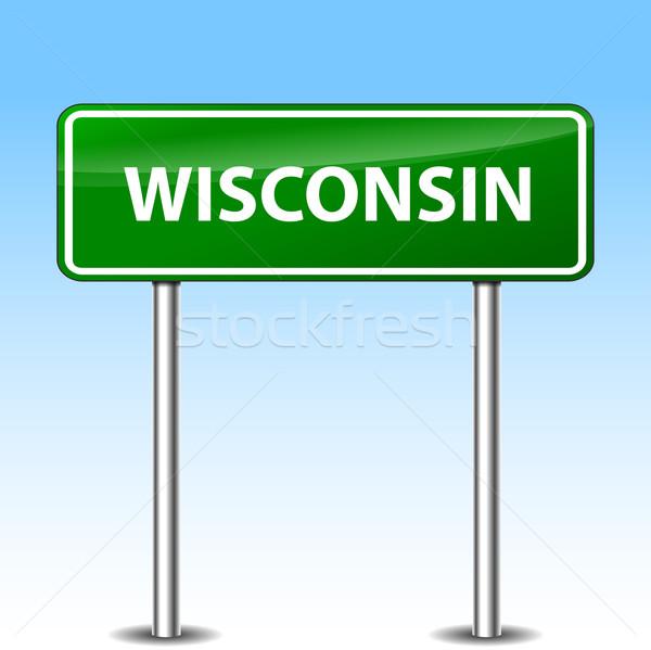 Wisconsin vert signe illustration métal panneau routier Photo stock © nickylarson974