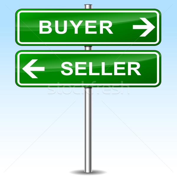 Vevő eladó zöld felirat illusztráció ház Stock fotó © nickylarson974