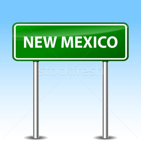 Нью-Мексико зеленый знак иллюстрация металл дорожный знак Сток-фото © nickylarson974