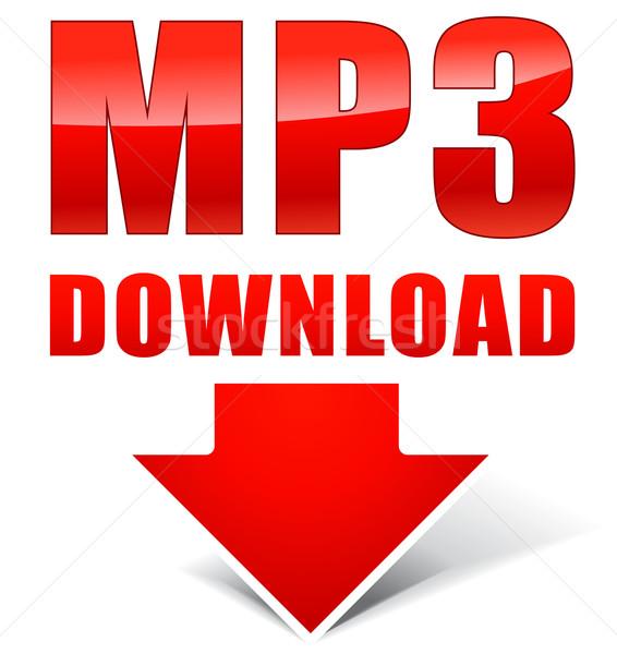 Vektör mp3 simgesi indir beyaz sanat kırmızı Stok fotoğraf © nickylarson974