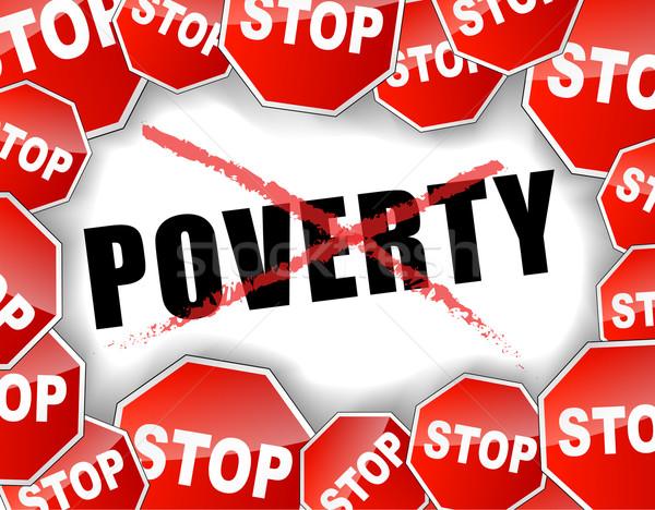 остановки нищеты фон красный концепция социальной Сток-фото © nickylarson974