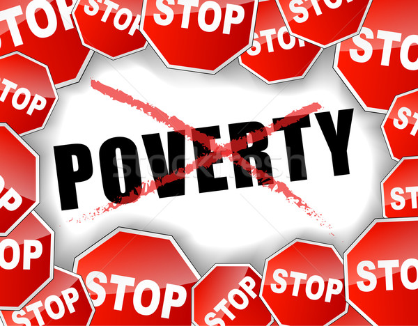 Parada la pobreza fondo rojo concepto social Foto stock © nickylarson974