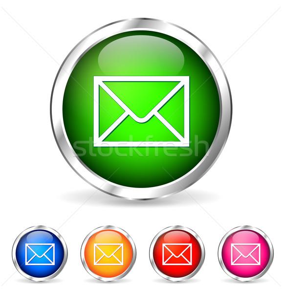 Vector chroom mail icon telefoon Stockfoto © nickylarson974