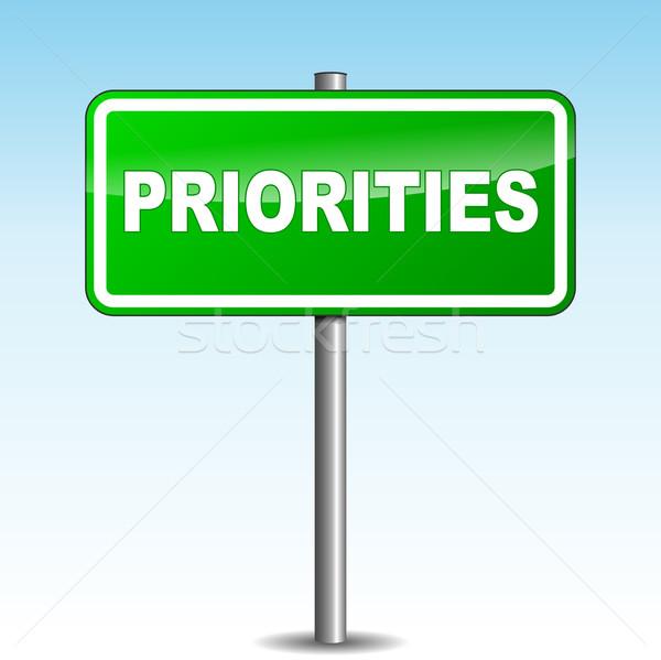 Vector priorities signpost Stock photo © nickylarson974
